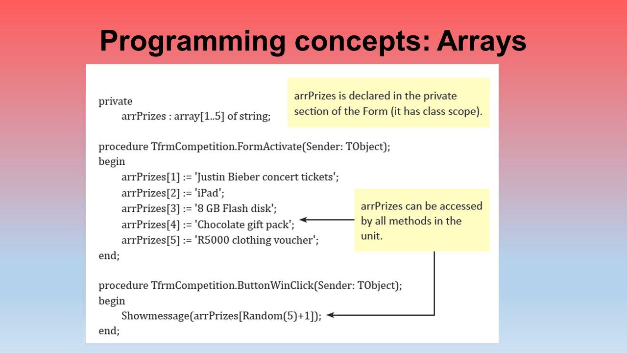 Programming concepts: Arrays