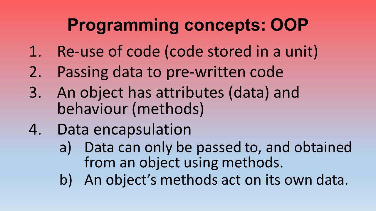 Programming concepts: OOP