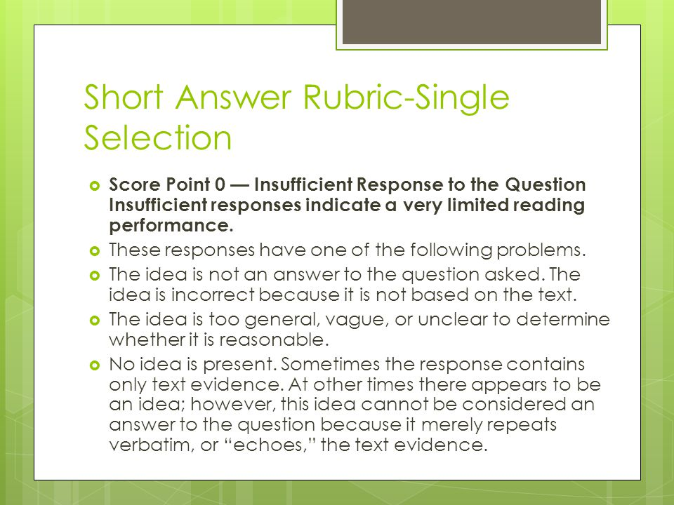 Short Answer Rubric-Single Selection