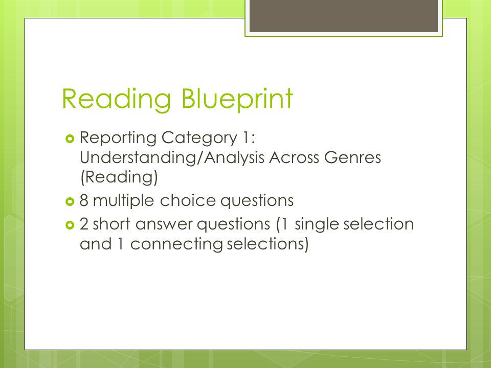 Reading Blueprint Reporting Category 1: Understanding/Analysis Across Genres (Reading) 8 multiple choice questions.