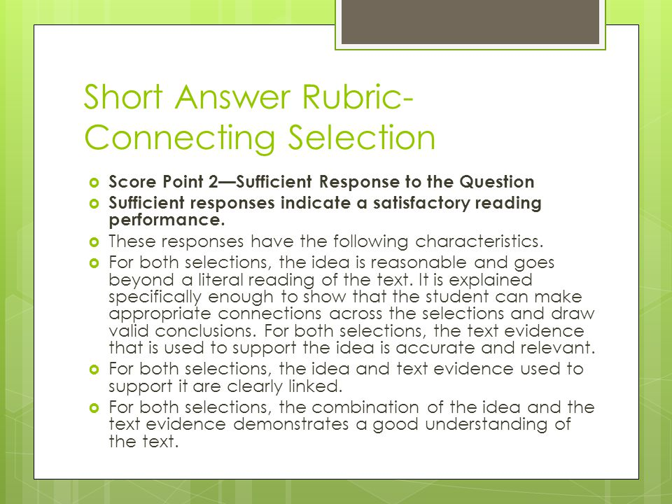Short Answer Rubric-Connecting Selection