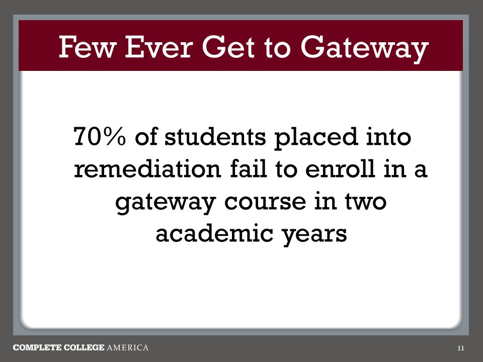 Few Ever Get to Gateway 70% of students placed into remediation fail to enroll in a gateway course in two academic years.