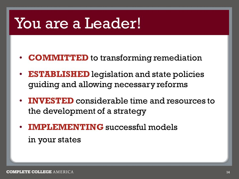 You are a Leader! COMMITTED to transforming remediation