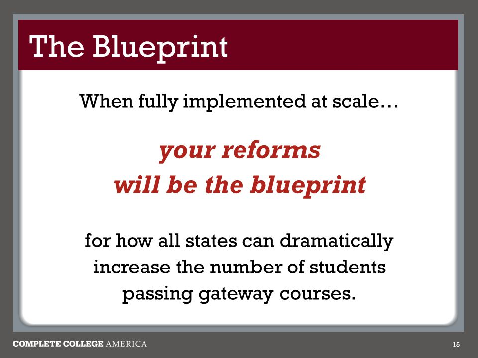 The Blueprint your reforms will be the blueprint