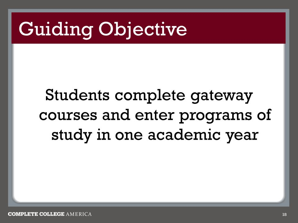 Guiding Objective Students complete gateway courses and enter programs of study in one academic year.