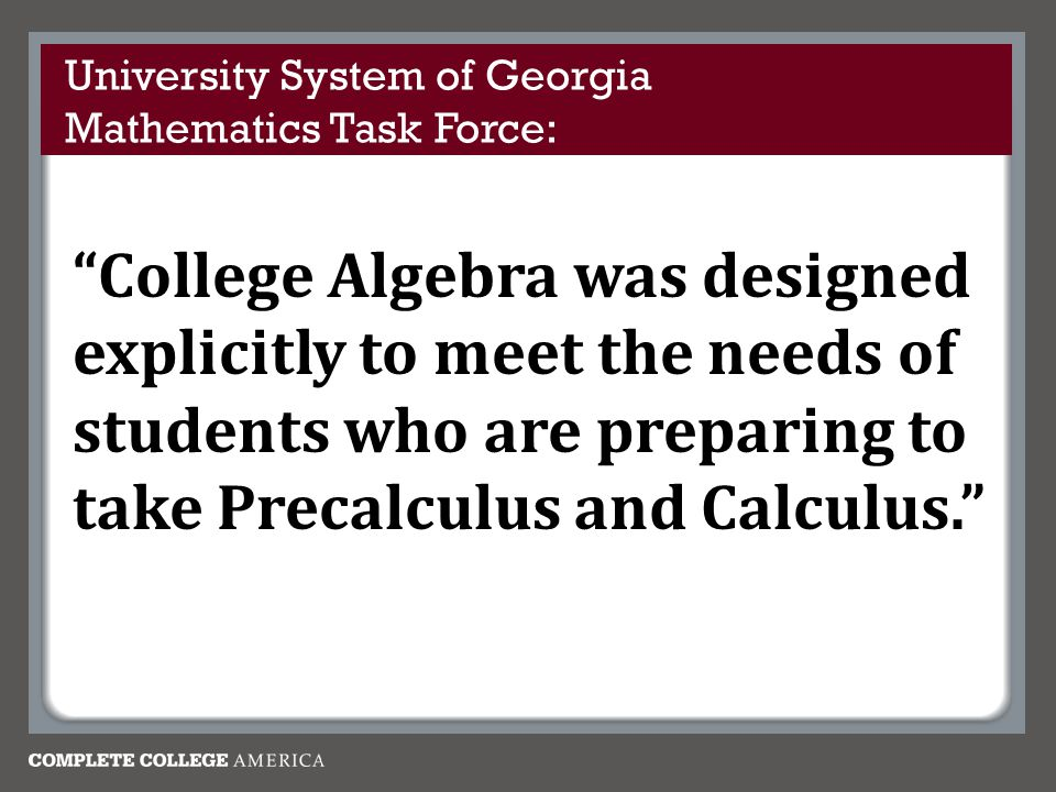 University System of Georgia Mathematics Task Force: