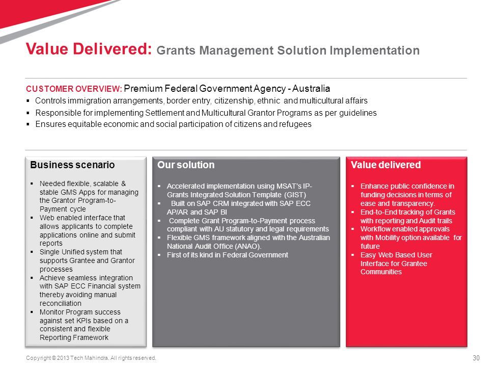 Value Delivered: Grants Management Solution Implementation