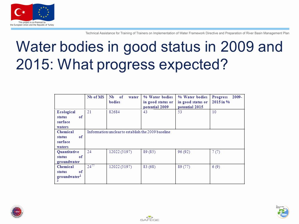 Water bodies in good status in 2009 and 2015: What progress expected