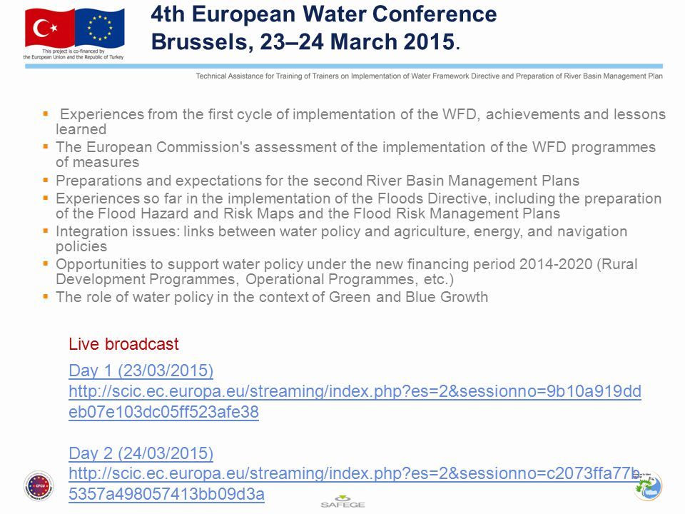 4th European Water Conference Brussels, 23–24 March 2015.