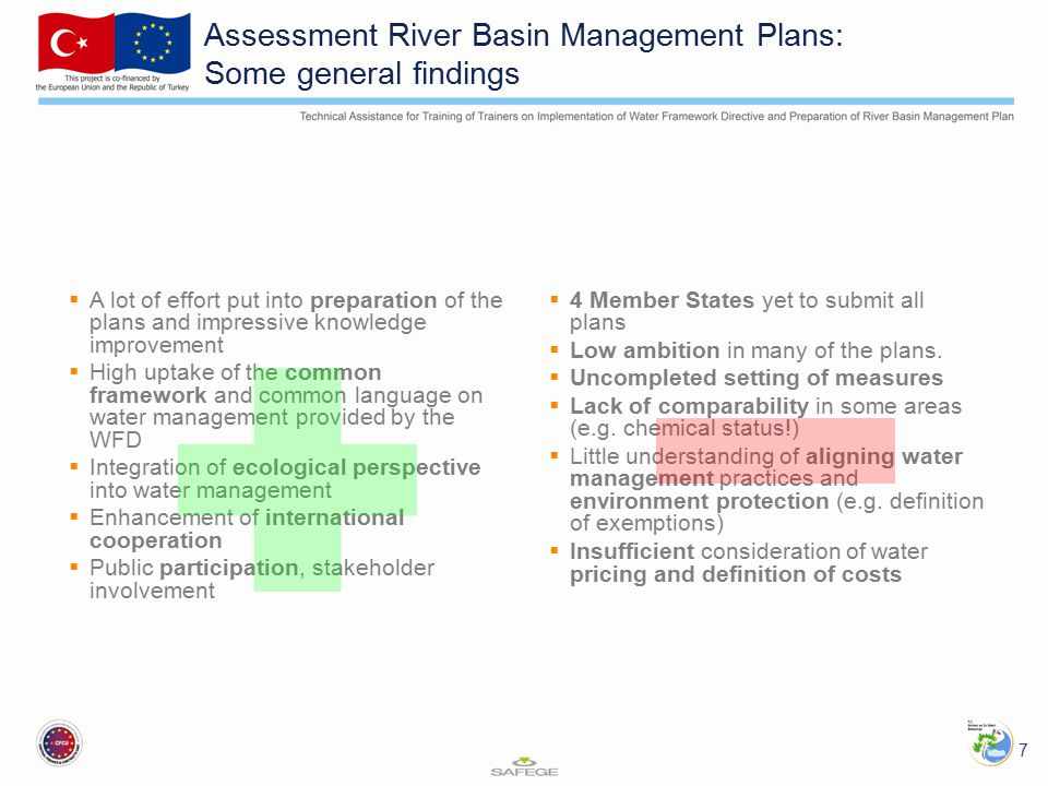 Assessment River Basin Management Plans: Some general findings