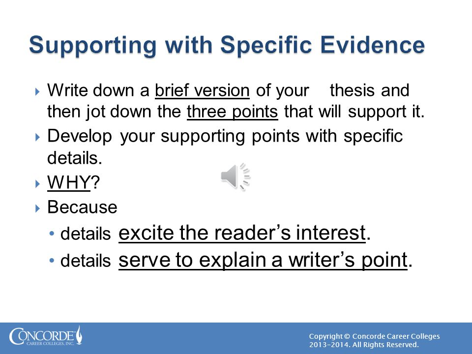Supporting with Specific Evidence