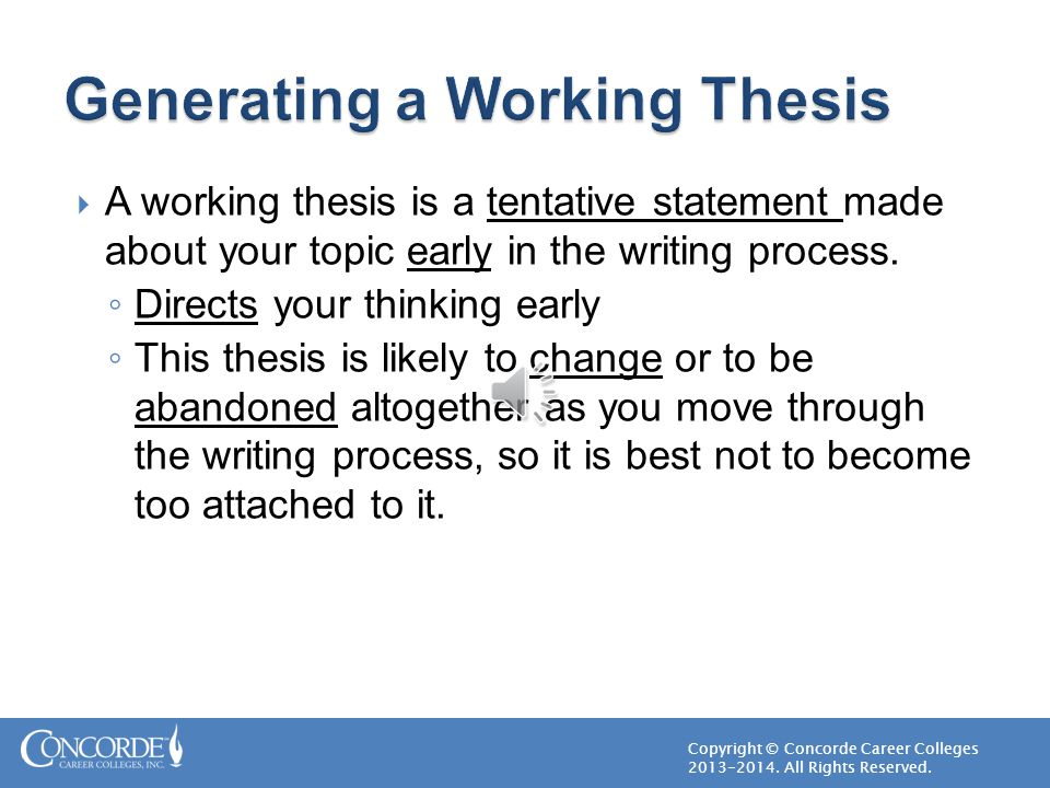 Generating a Working Thesis