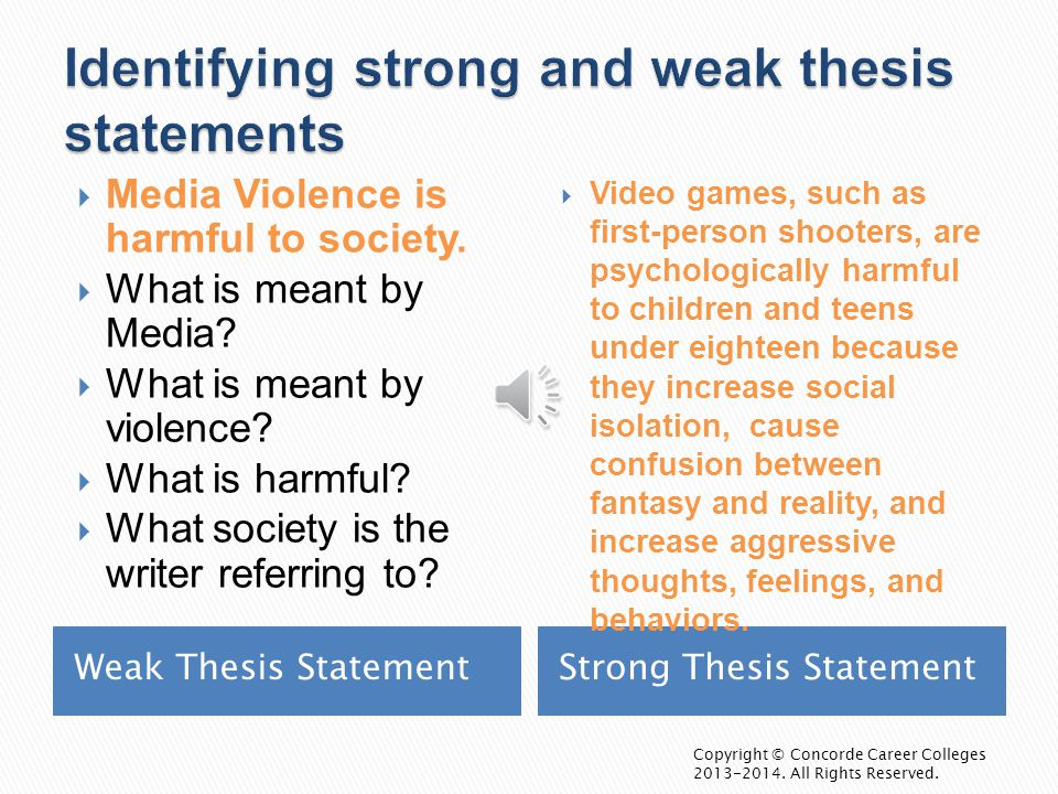 weak thesis strong thesis Here are two different looks at strong and weak thesis statements thesis statements provide the main point of your essay food safety essay and help to keep your.