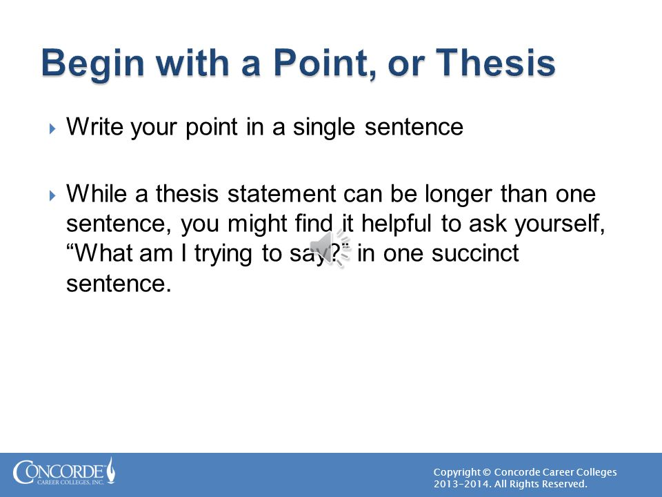 Begin with a Point, or Thesis