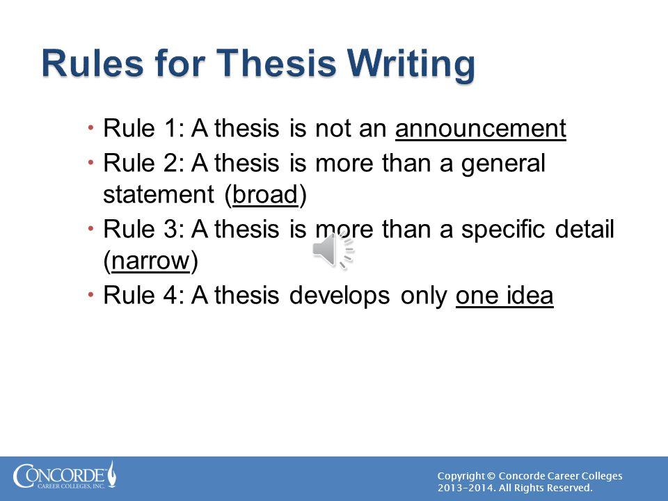 four rules for writing a thesis statement After writing a thesis statement, ask yourself the thesis statement and topic sentences author: englishgta created date: 1/28/2014 4:55:31 pm.