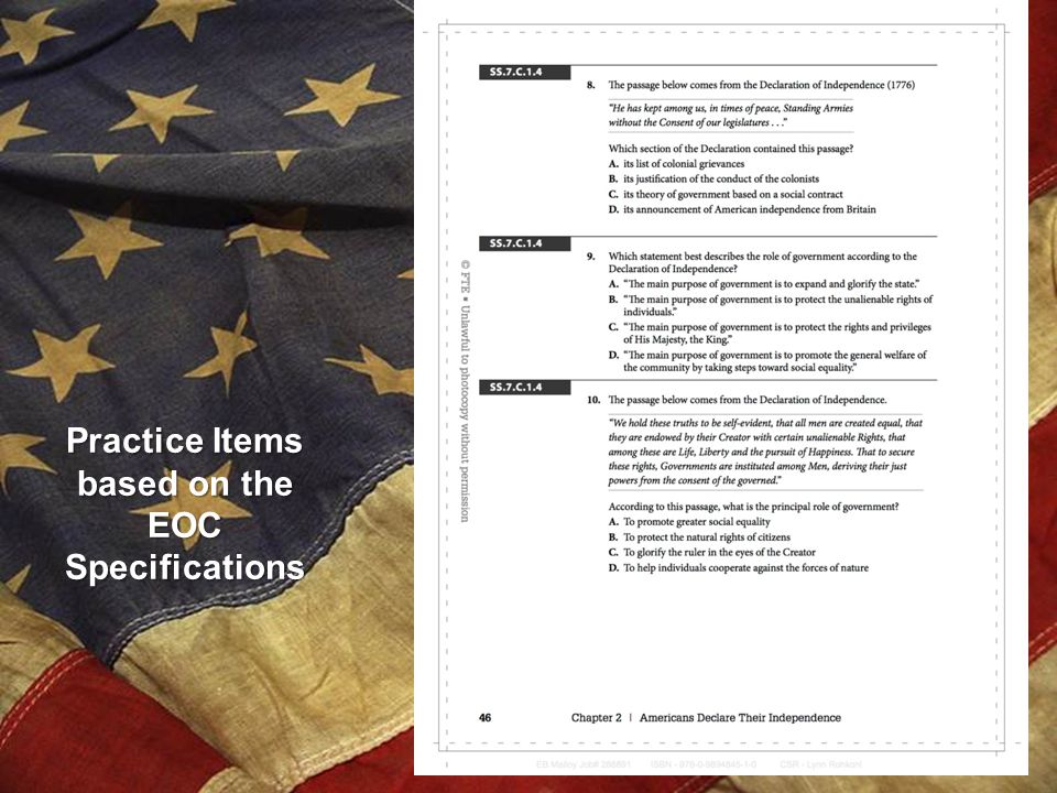 Practice Items based on the EOC Specifications