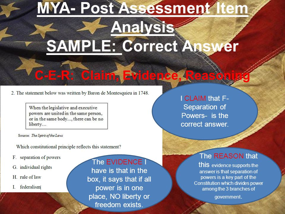 MYA- Post Assessment Item Analysis SAMPLE: Correct Answer