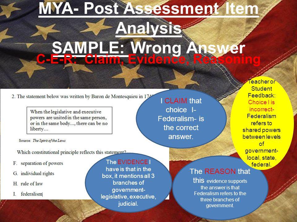 MYA- Post Assessment Item Analysis SAMPLE: Wrong Answer
