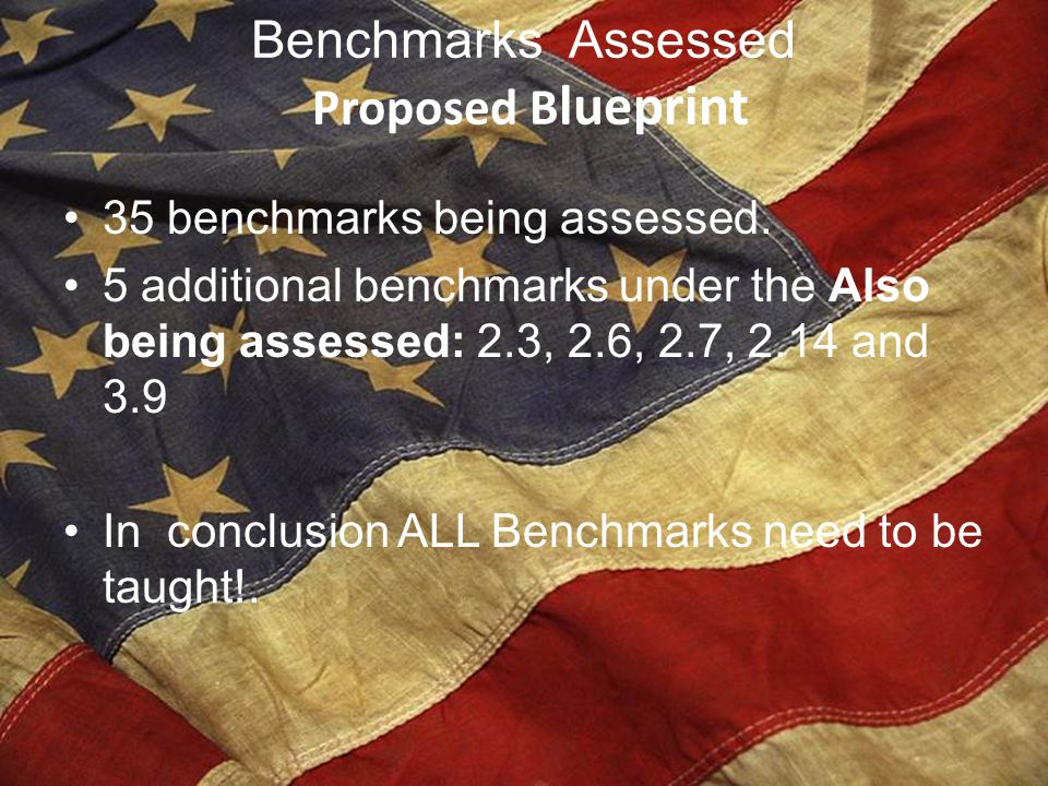 Benchmarks Assessed Proposed Blueprint