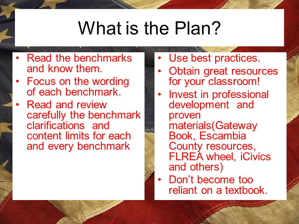 What is the Plan Read the benchmarks and know them.