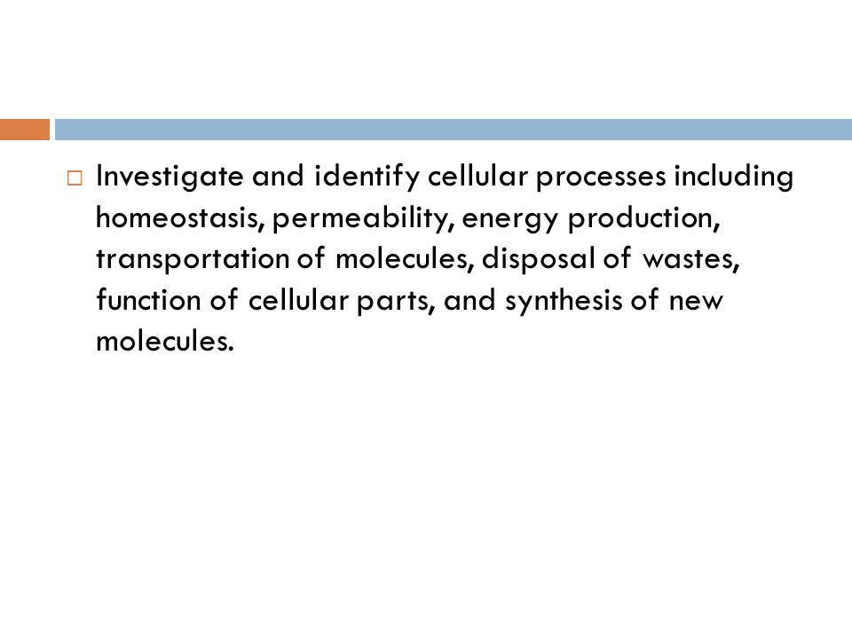 Investigate and identify cellular processes including homeostasis, permeability, energy production, transportation of molecules, disposal of wastes, function of cellular parts, and synthesis of new molecules.