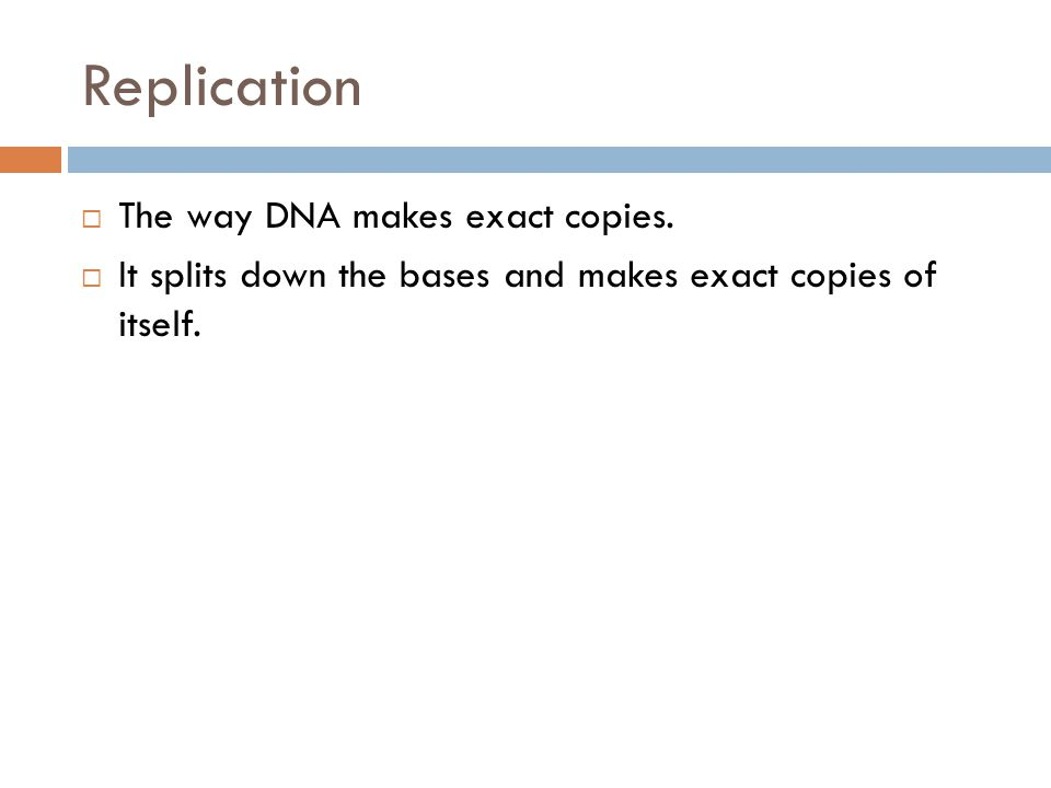 Replication The way DNA makes exact copies.