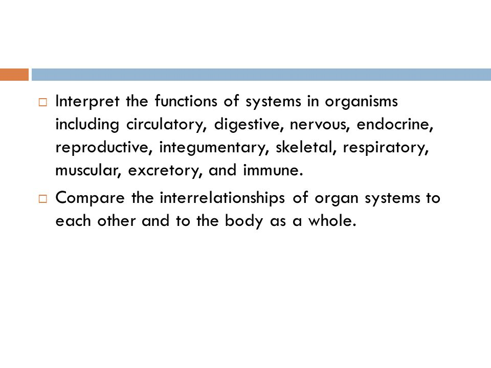 Interpret the functions of systems in organisms including circulatory, digestive, nervous, endocrine, reproductive, integumentary, skeletal, respiratory, muscular, excretory, and immune.