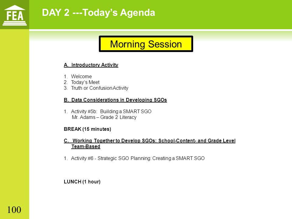 DAY 2 ---Today's Agenda Morning Session 100