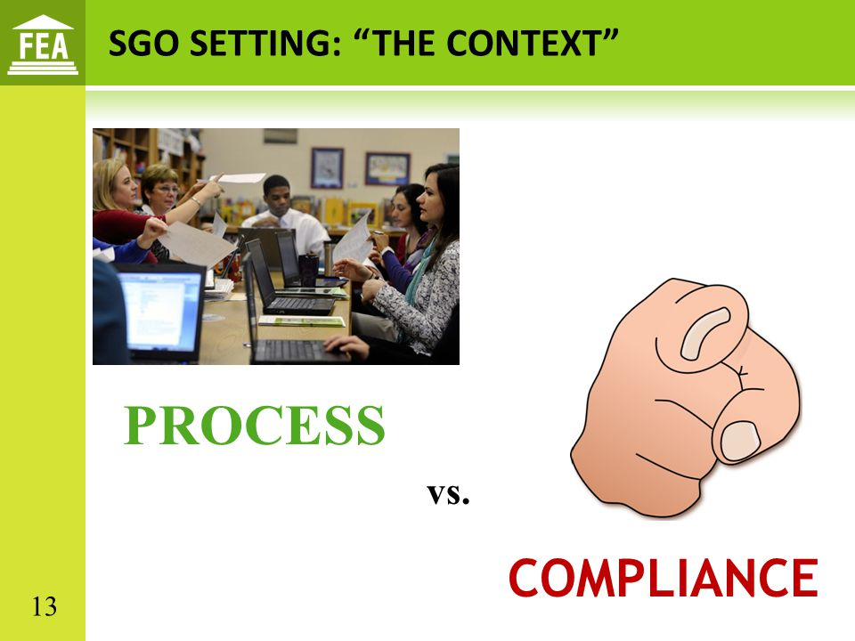 PROCESS COMPLIANCE SGO SETTING: THE CONTEXT vs. 13