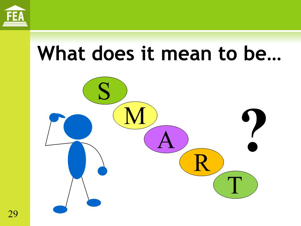 S M A R T What does it mean to be… Presenter Suggestion: