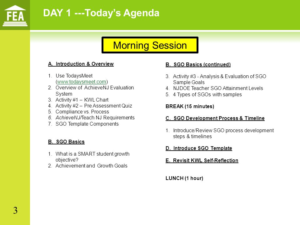 DAY 1 ---Today's Agenda Morning Session 3