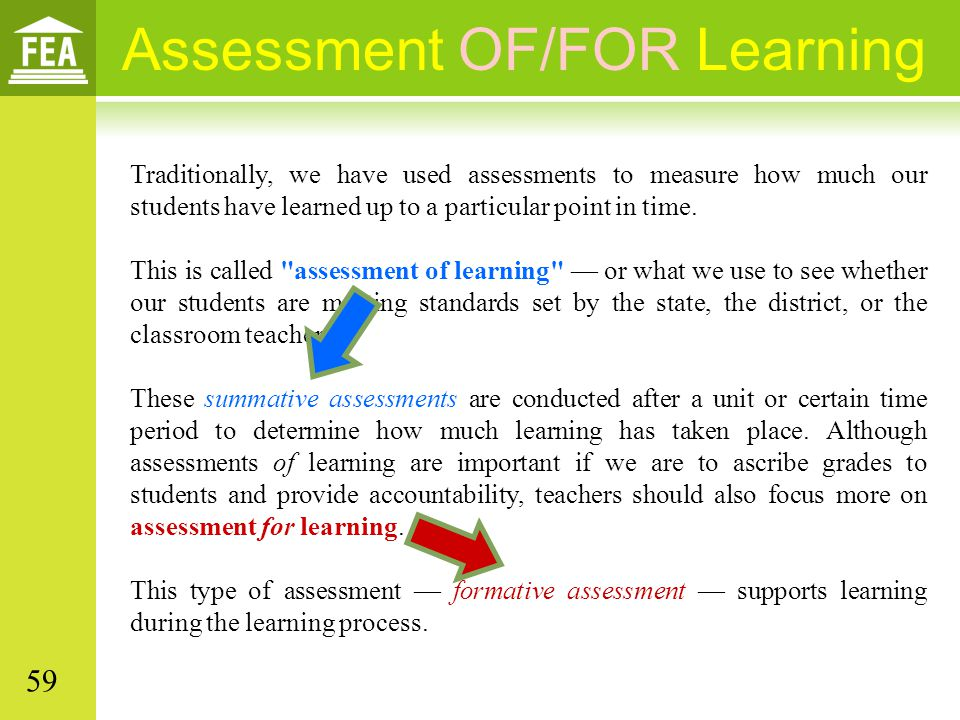 Assessment OF/FOR Learning