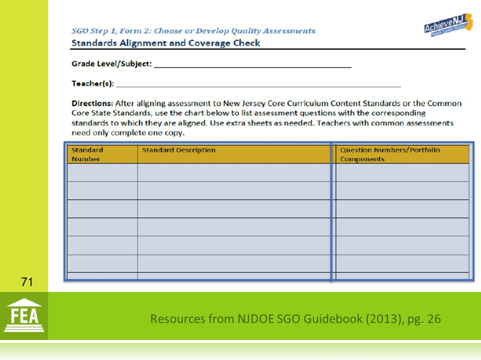 Resources from NJDOE SGO Guidebook (2013), pg. 26