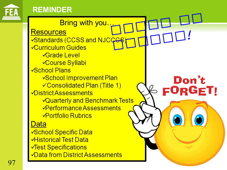 Paper or online! REMINDER Bring with you… Resources Data 97