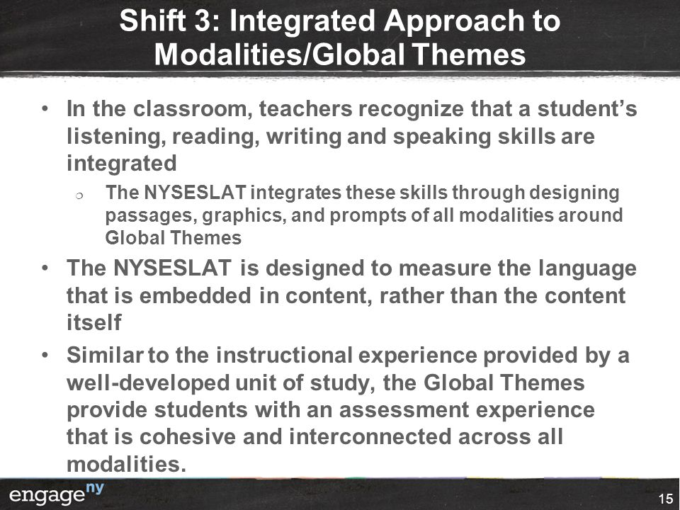 Shift 3: Integrated Approach to Modalities/Global Themes