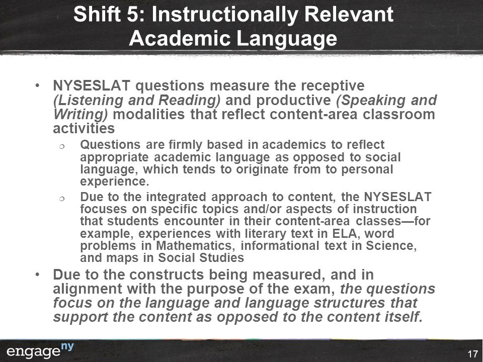 Shift 5: Instructionally Relevant Academic Language