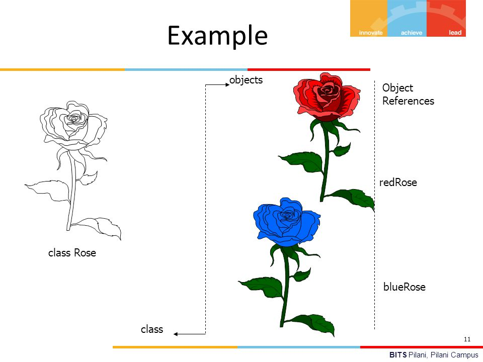 Example objects Object References redRose class Rose blueRose class 11