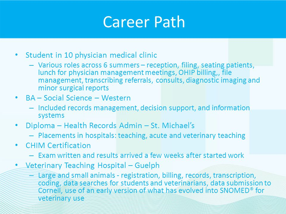 Career Path Student in 10 physician medical clinic
