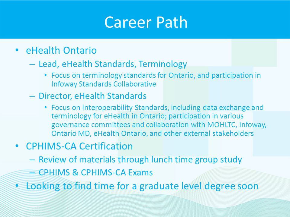 Career Path eHealth Ontario CPHIMS-CA Certification