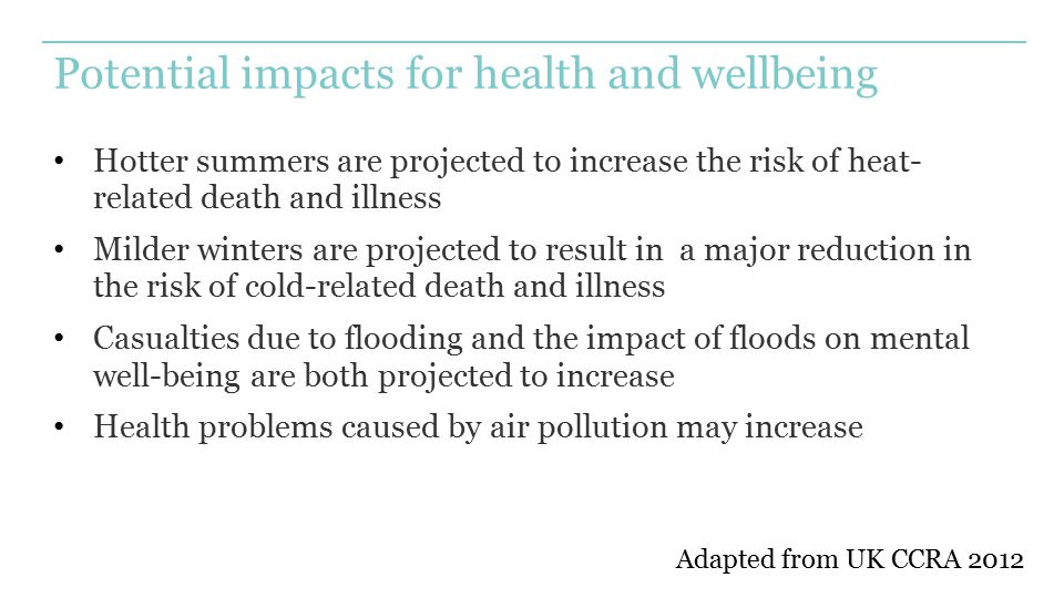Potential impacts for health and wellbeing