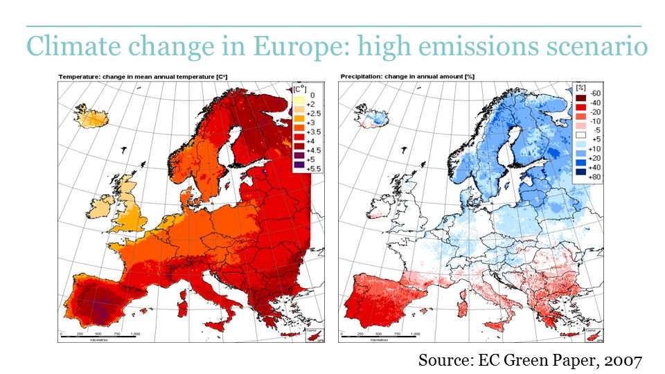 Climate change in Europe: high emissions scenario