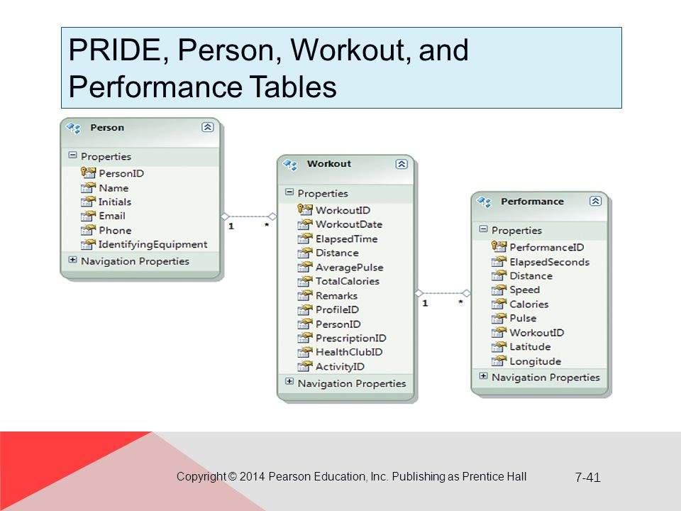 PRIDE, Person, Workout, and Performance Tables