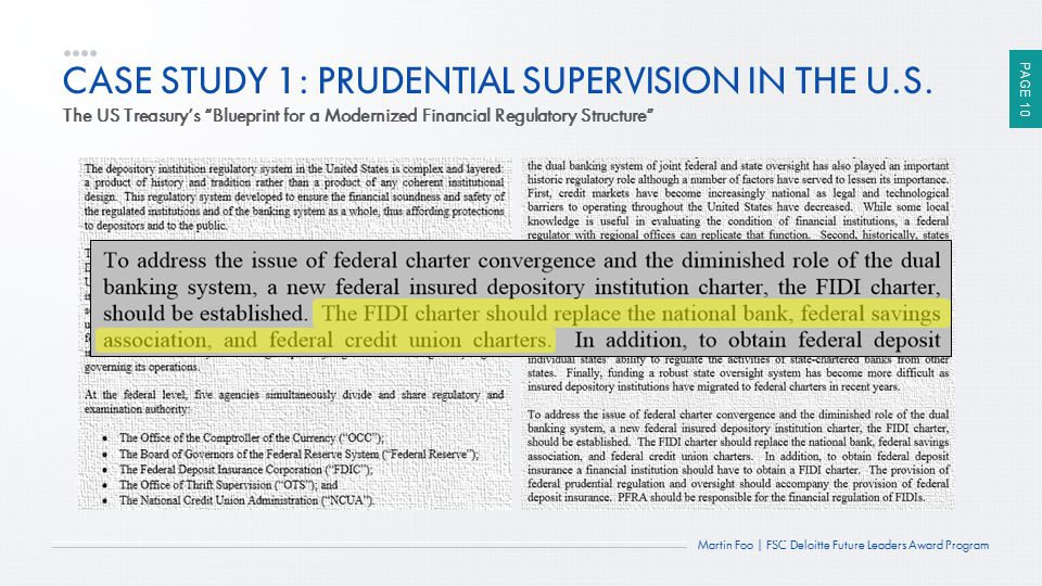 CASE STUDY 1: PRUDENTIAL SUPERVISION IN THE U.S.