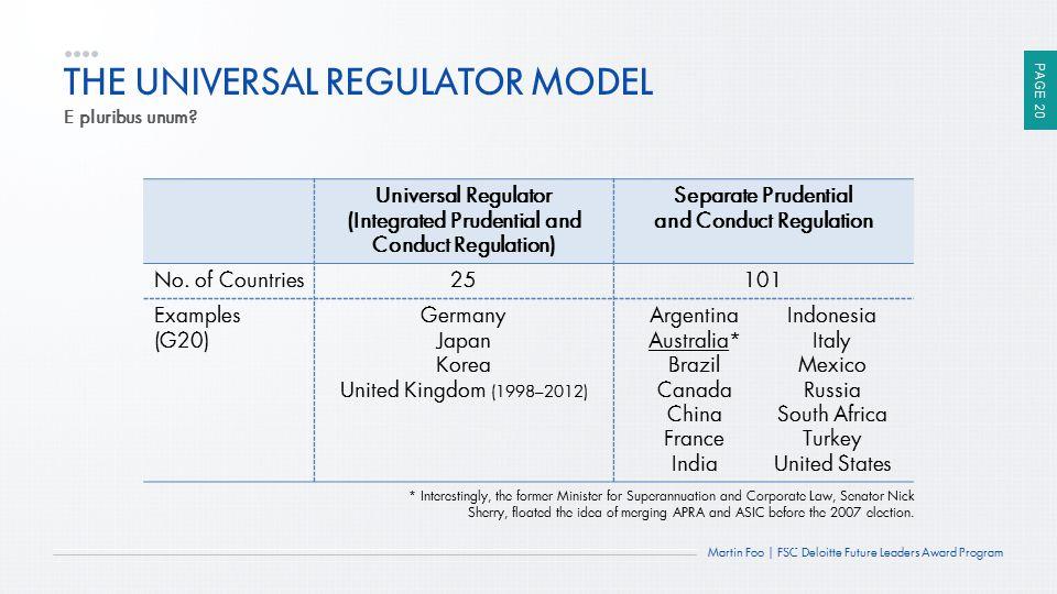 THE UNIVERSAL REGULATOR MODEL