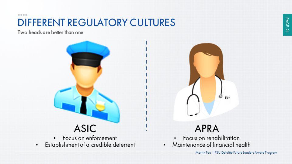 DIFFERENT REGULATORY CULTURES