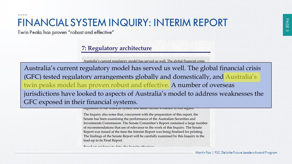 FINANCIAL SYSTEM INQUIRY: INTERIM REPORT