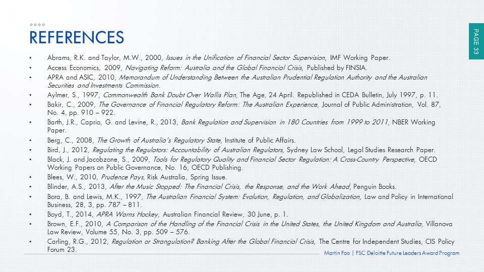 REFERENCES Abrams, R.K. and Taylor, M.W., 2000, Issues in the Unification of Financial Sector Supervision, IMF Working Paper.
