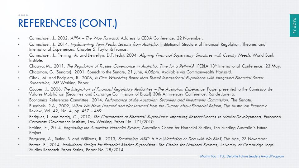 REFERENCES (CONT.) Carmichael, J., 2002, APRA – The Way Forward, Address to CEDA Conference, 22 November.