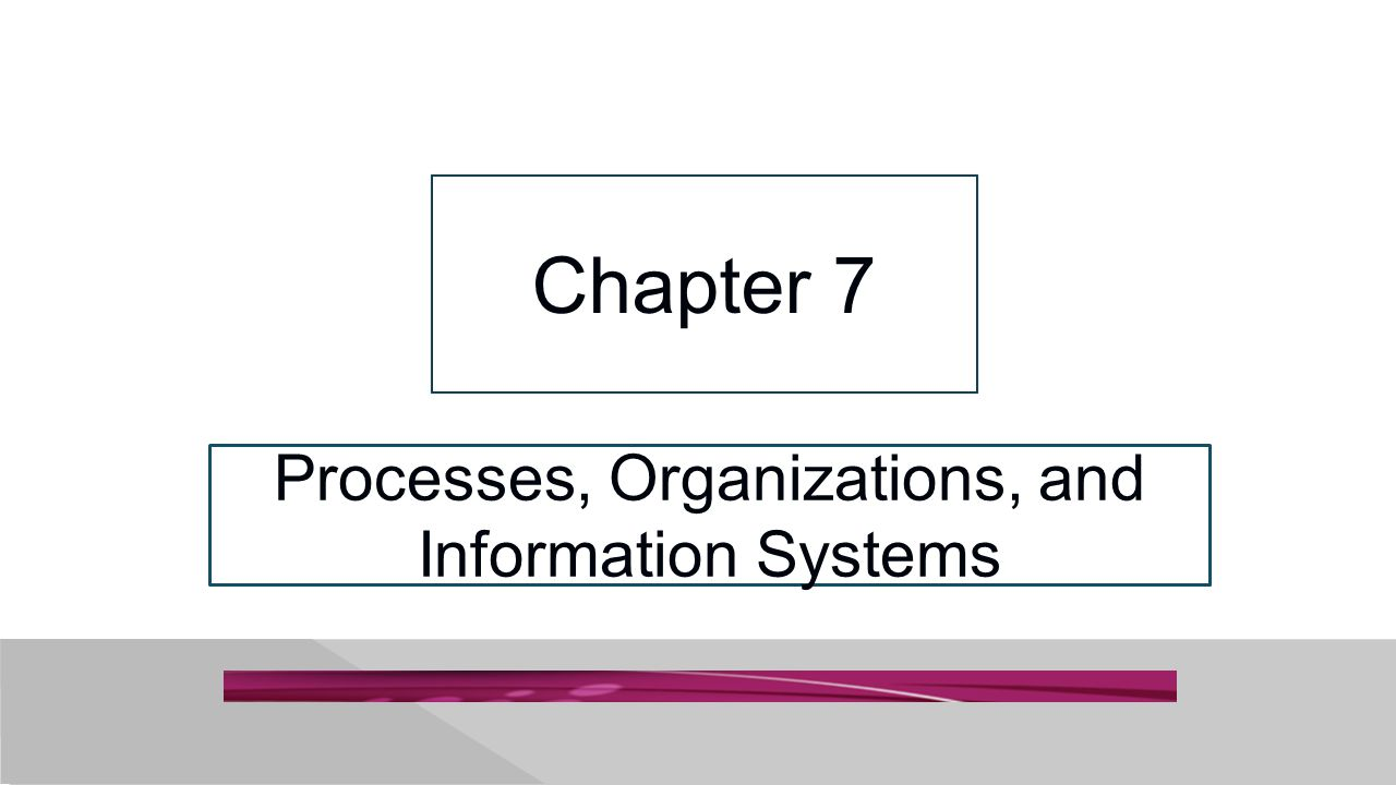 Processes, Organizations, and Information Systems