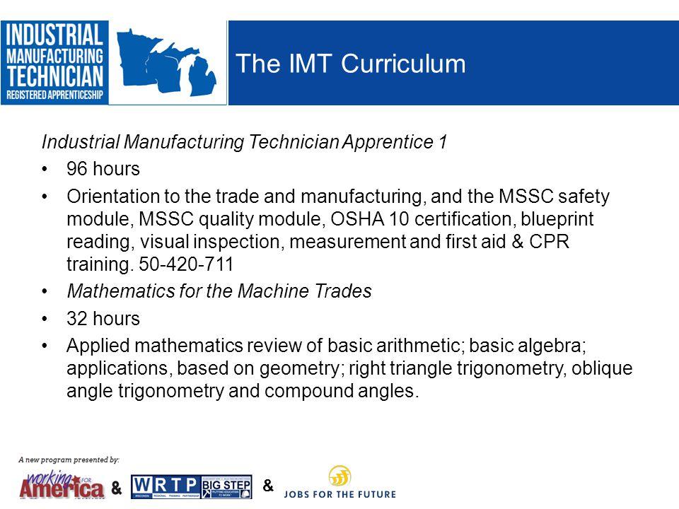The IMT Curriculum Industrial Manufacturing Technician Apprentice 1